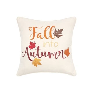 Fall Into Autumn Embroidered 20x20 Throw Pillow