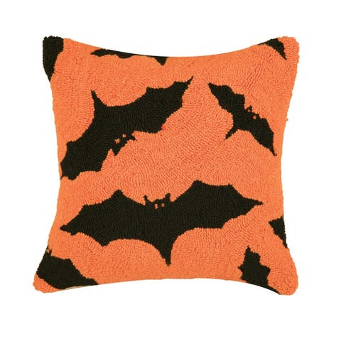 Batty Hooked 18 Inch Throw Decorative Accent Throw Pillow