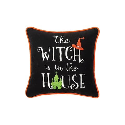 House Witch Embroidered 10x10 Throw Decorative Accent Throw Pillow