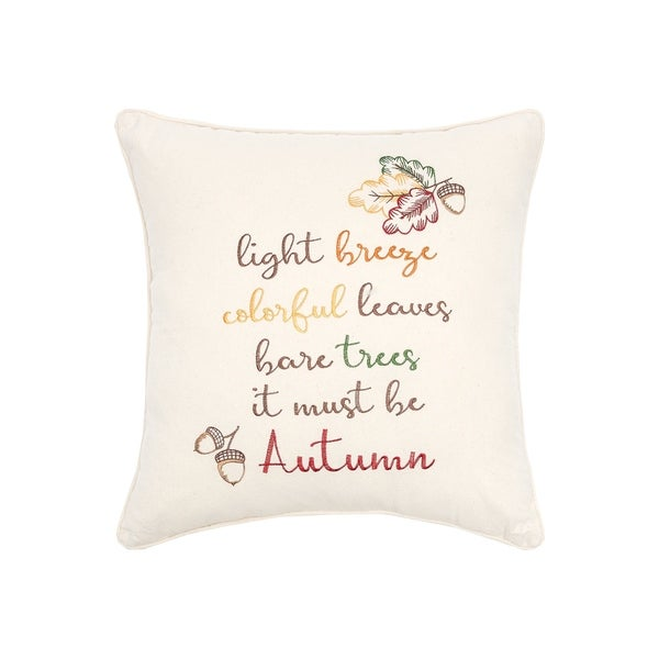 It Must Be Autumn Embroidered 20x20 Throw Pillow