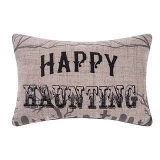 Goth Happy Haunting Printed / Embroidered 8x12 Throw Pillow