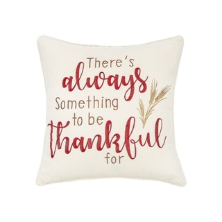 Always Thankful Embroidered 20x20 Throw Pillow