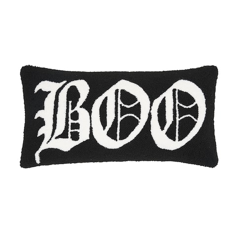 Boo Black Halloween Hooked 12x24 Decorative Accent Throw Pillow