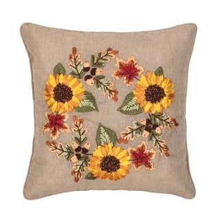 Autumn Wreath Ribbon Ribbon Art 16 Inch Throw Pillow