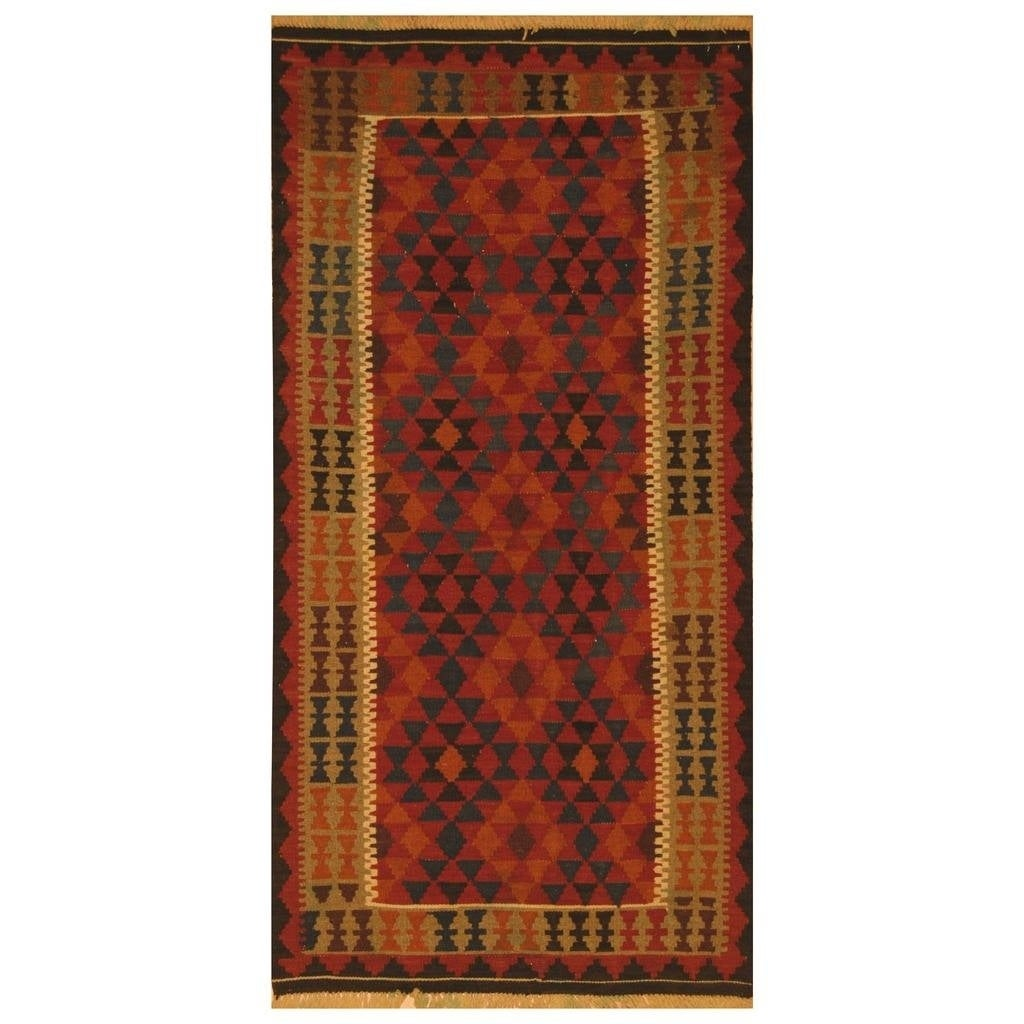 Handmade Herat Oriental Afghan Hand-woven Mimana Wool Kilim (35 x 65) - 35 x 65 (Red - 35 x 65)