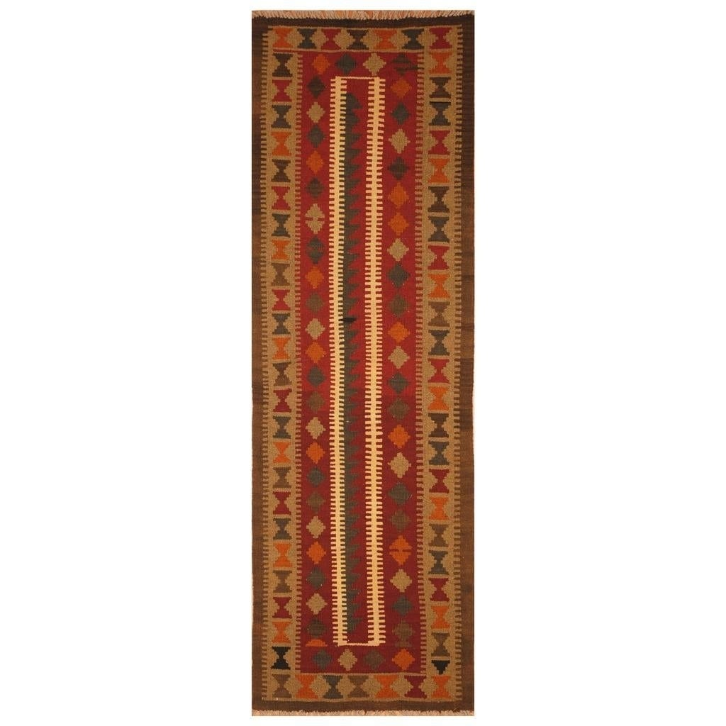 Handmade Herat Oriental Afghan Hand-woven Mimana Wool Kilim (2' x 6'6)