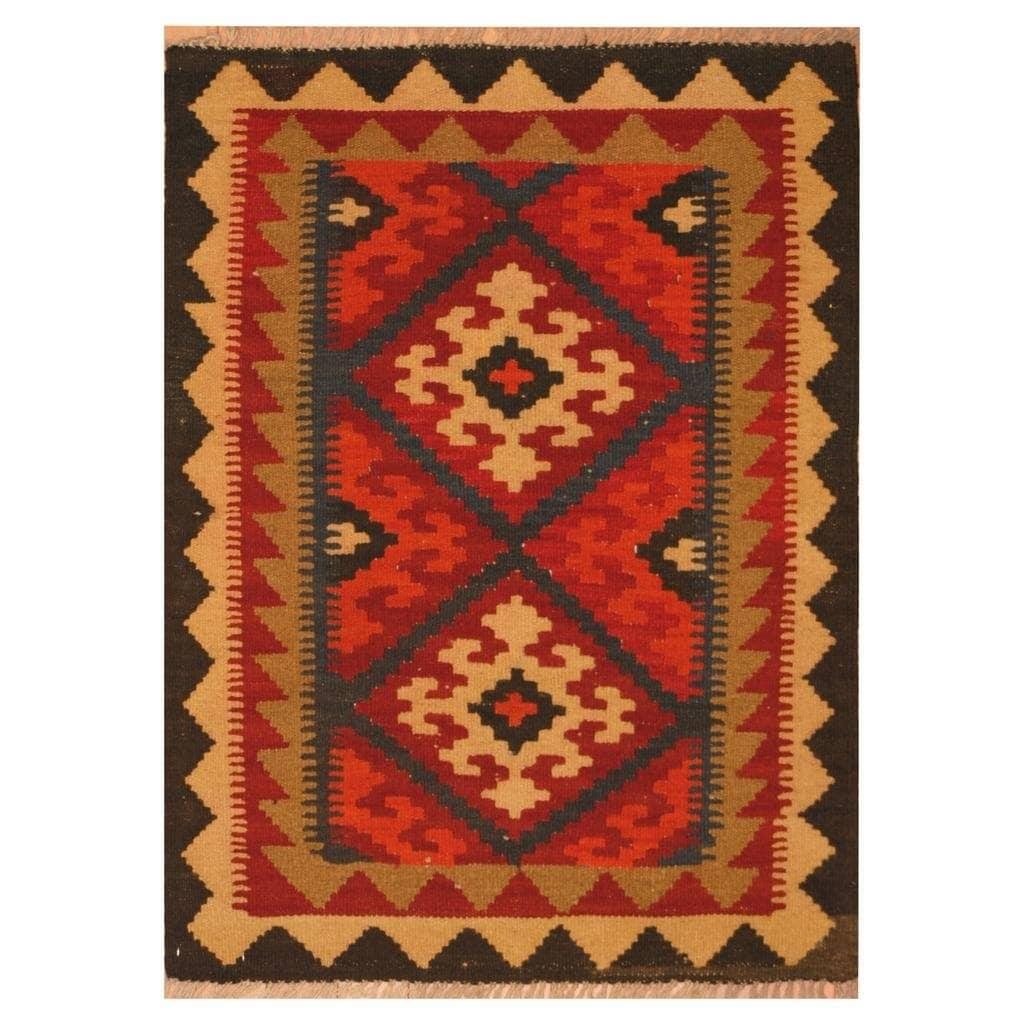 Handmade Herat Oriental Afghan Hand-woven Mimana Wool Kilim (2'5 x 3'3)