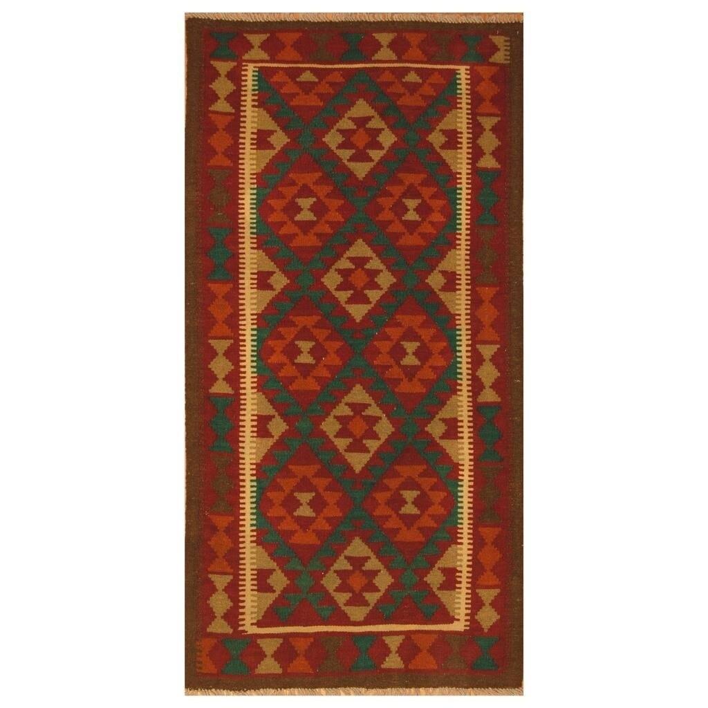 Handmade Herat Oriental Afghan Hand-woven Mimana Wool Kilim (3'3 x 6'5)
