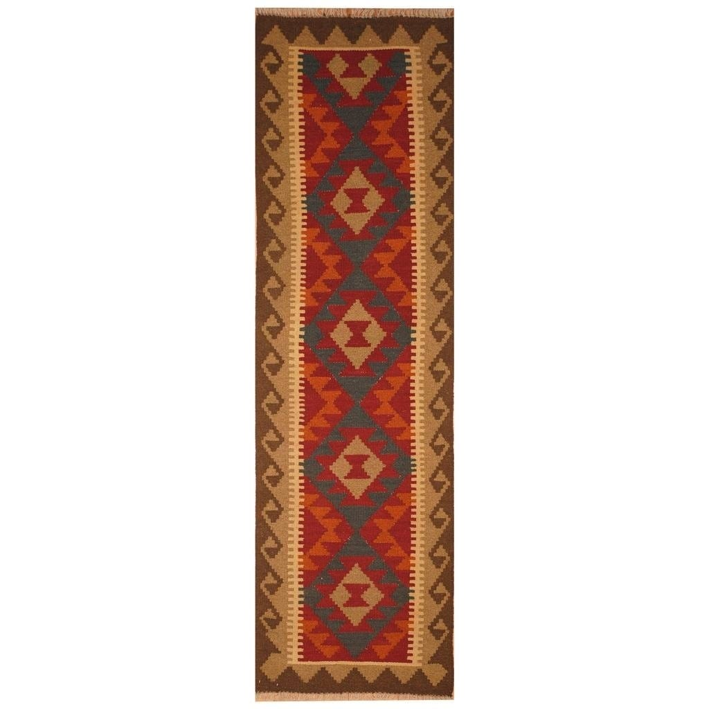 Handmade Herat Oriental Afghan Hand-woven Mimana Wool Kilim (2' x 6'7) - 2' x 6'7 (Red - 2' x 6'7)