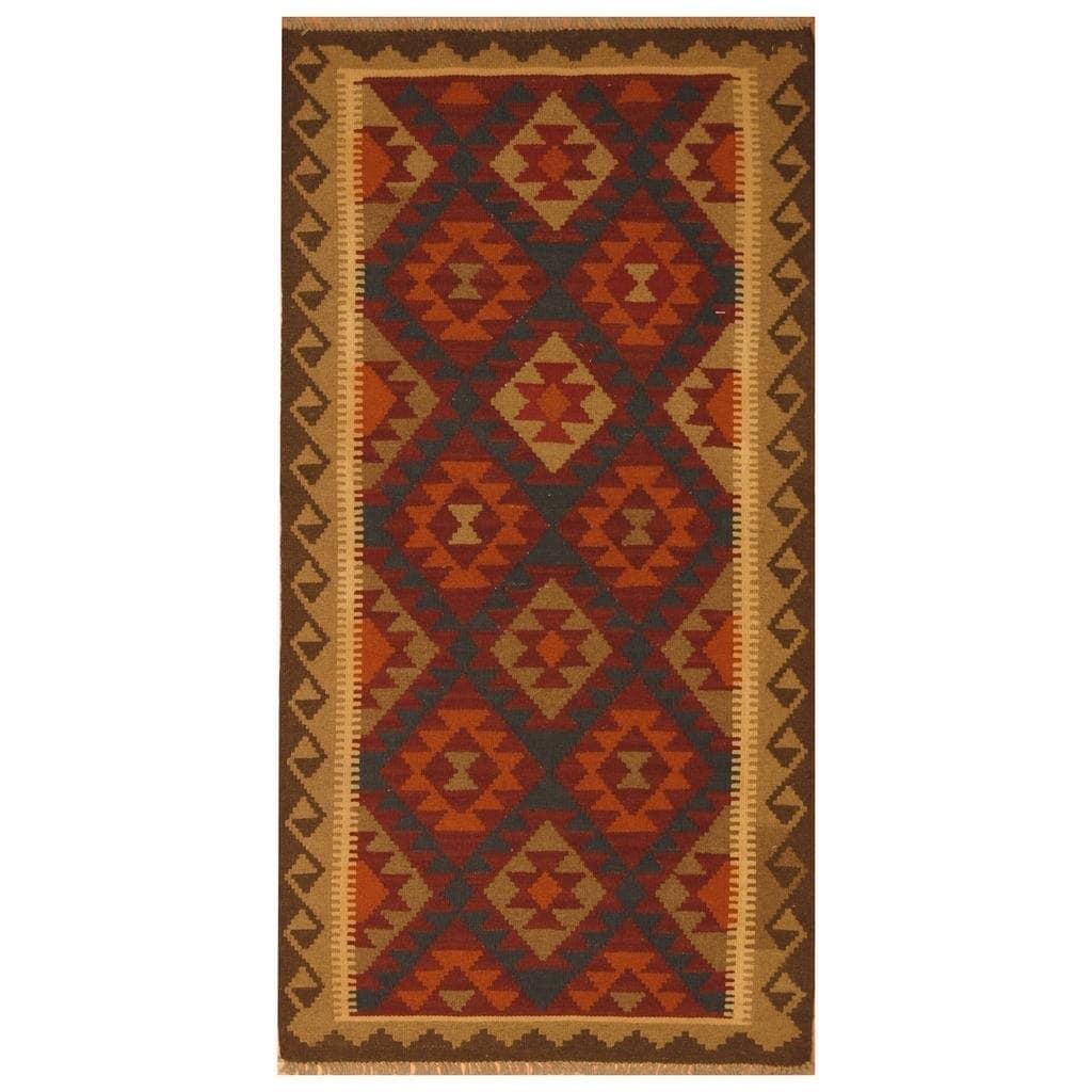 Handmade Herat Oriental Afghan Hand-woven Mimana Wool Kilim (3'5 x 6'6) - 3'5 x 6'6 (Red - 3'5 x 6'6)