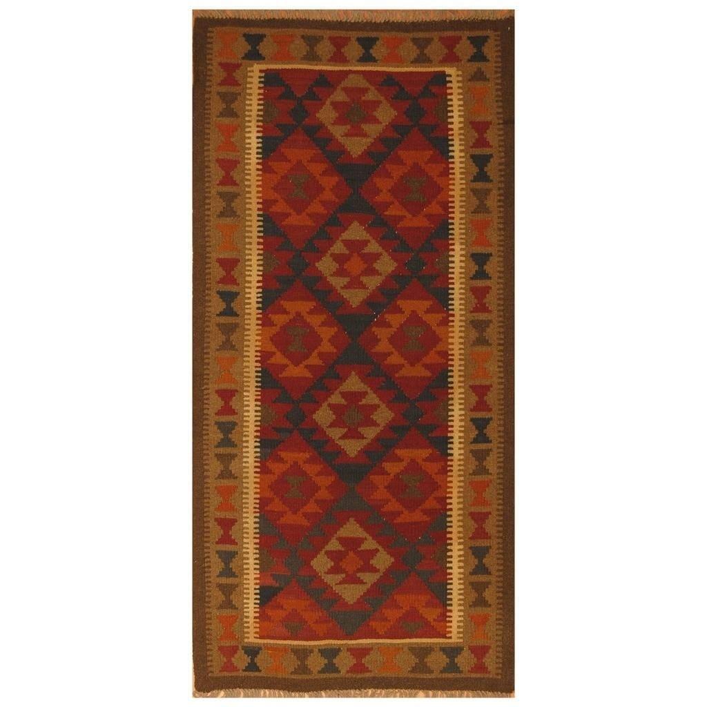 Handmade Herat Oriental Afghan Hand-woven Mimana Wool Kilim (3'2 x 6'6) - 3'2 x 6'6 (Red - 3'2 x 6'6)