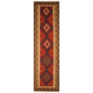 Handmade One-of-a-Kind Mimana Wool Kilim (Afghanistan) - 1'10 x 6'6