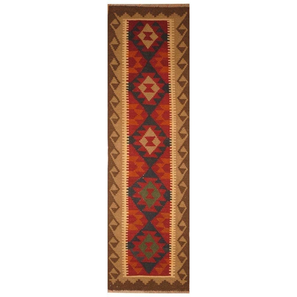 Handmade Herat Oriental Afghan Hand-woven Mimana Wool Kilim (1'10 x 6'6) - 1'10 x 6'6 (Red - 1'10 x 6'6)