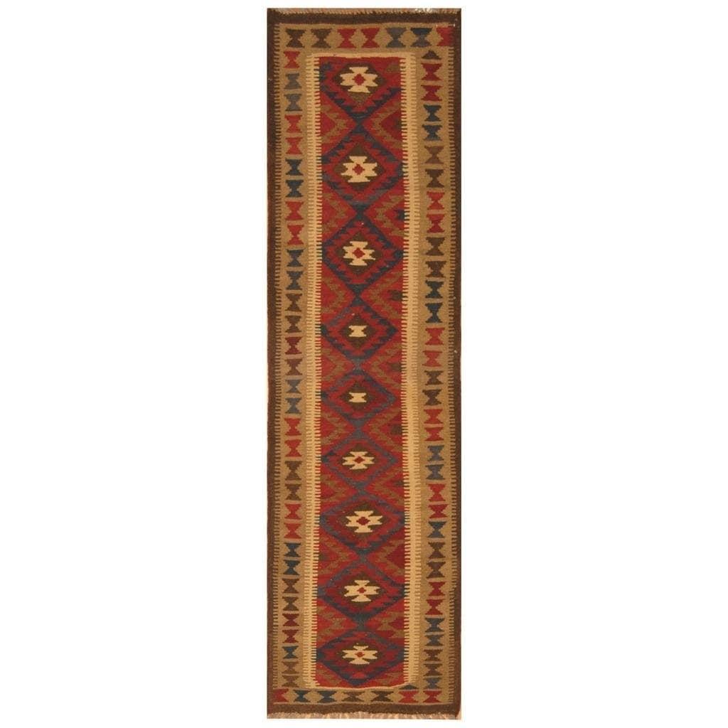 Handmade Herat Oriental Afghan Hand-woven Mimana Wool Kilim (1'10 x 7'7)