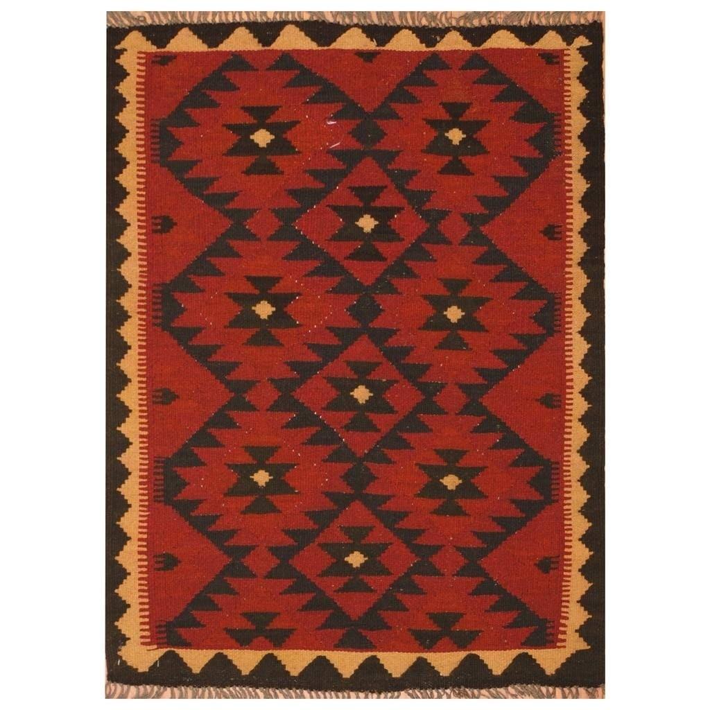 Handmade Herat Oriental Afghan Hand-woven Mimana Wool Kilim (2'6 x 3'4) - 2'6 x 3'4 (Red - 2'6 x 3'4)