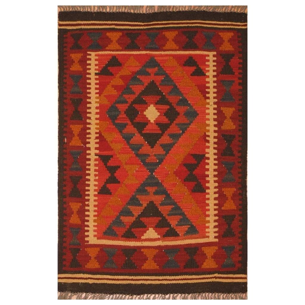 Handmade Herat Oriental Afghan Hand-woven Mimana Wool Kilim (2'4 x 3'4)