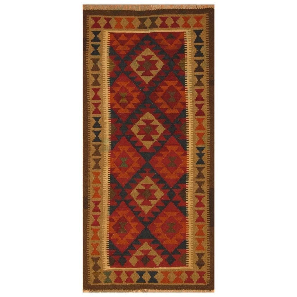 Handmade Herat Oriental Afghan Hand-woven Mimana Wool Kilim (3'2 x 6'6)