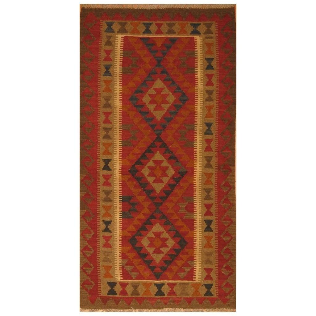 Handmade Herat Oriental Afghan Hand-woven Mimana Wool Kilim (3'6 x 6'4) - 3'6 x 6'4 (Red - 3'6 x 6'4)