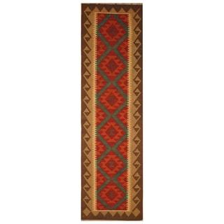 Handmade One-of-a-Kind Mimana Wool Kilim (Afghanistan) - 1'10 x 6'9
