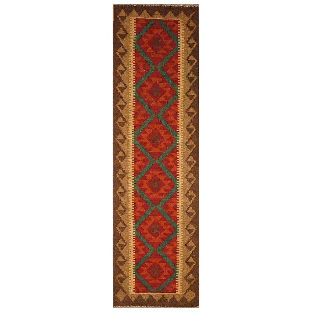 Handmade Herat Oriental Afghan Hand-woven Mimana Wool Kilim (1'10 x 6'9) - 1'10 x 6'9 (Red - 1'10 x 6'9)