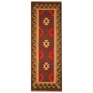 Handmade One-of-a-Kind Mimana Wool Kilim (Afghanistan) - 2'2 x 6'3