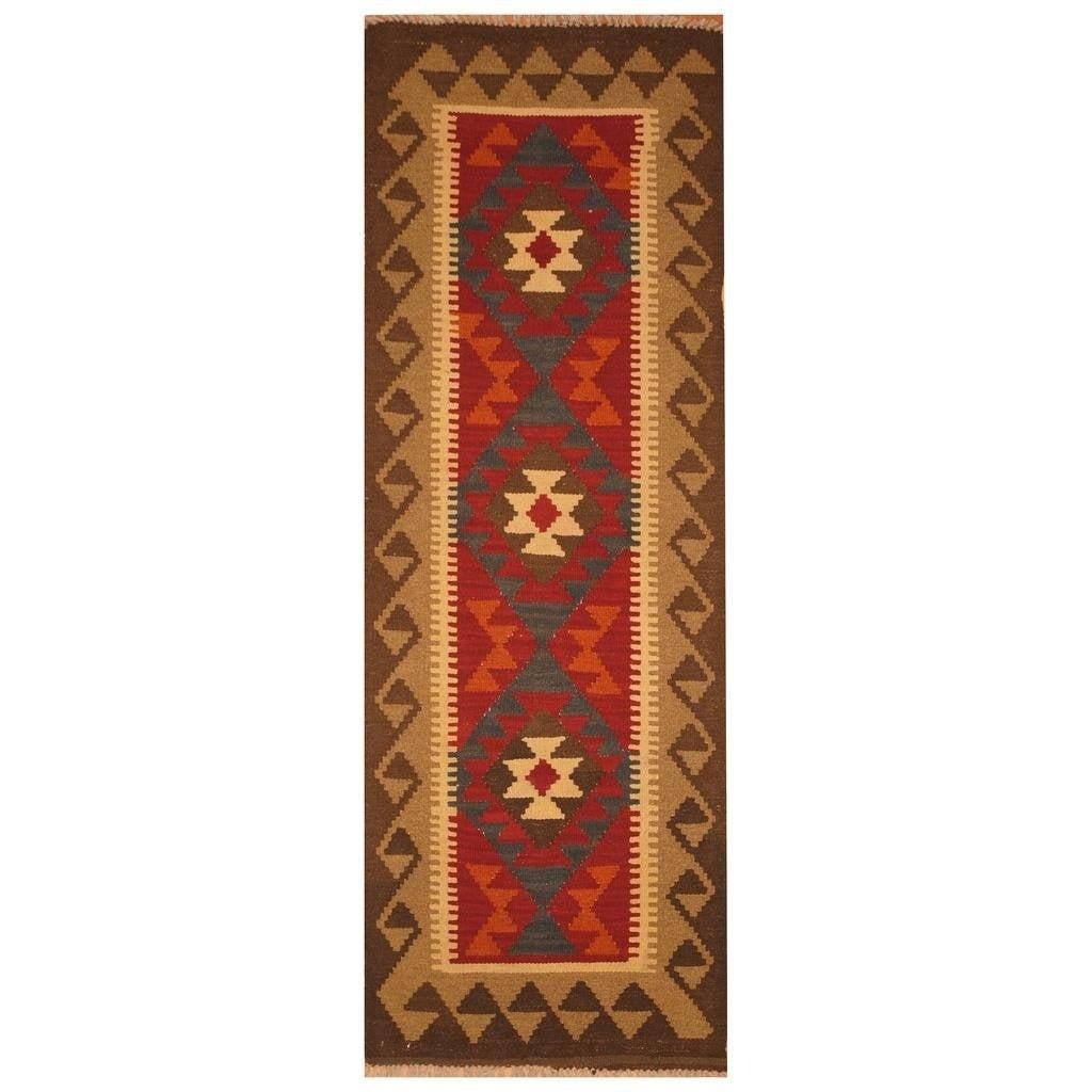 Handmade Herat Oriental Afghan Hand-woven Mimana Wool Kilim (22 x 63) - 22 x 63 (Red - 22 x 63)