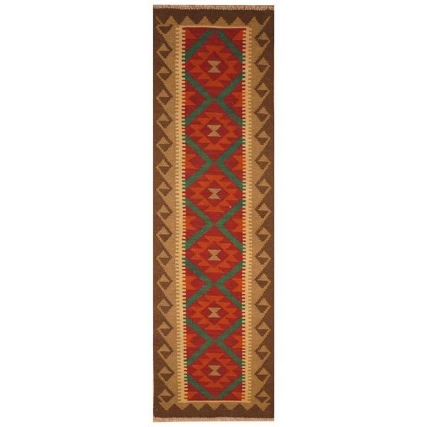 Handmade One-of-a-Kind Mimana Wool Kilim (Afghanistan) - 2' x 6'7