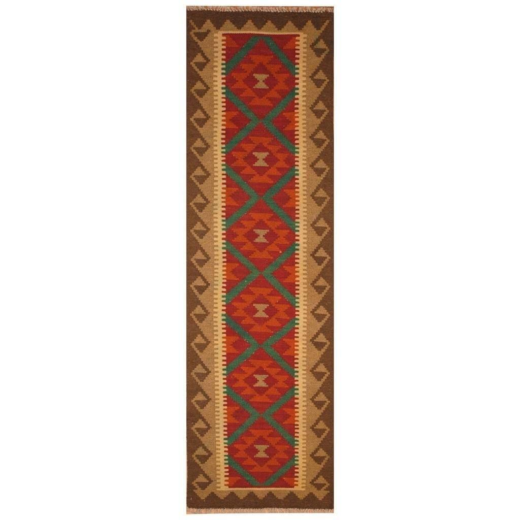 Handmade Herat Oriental Afghan Hand-woven Mimana Wool Kilim (2 x 67) - 2 x 67 (Red - 2 x 67)