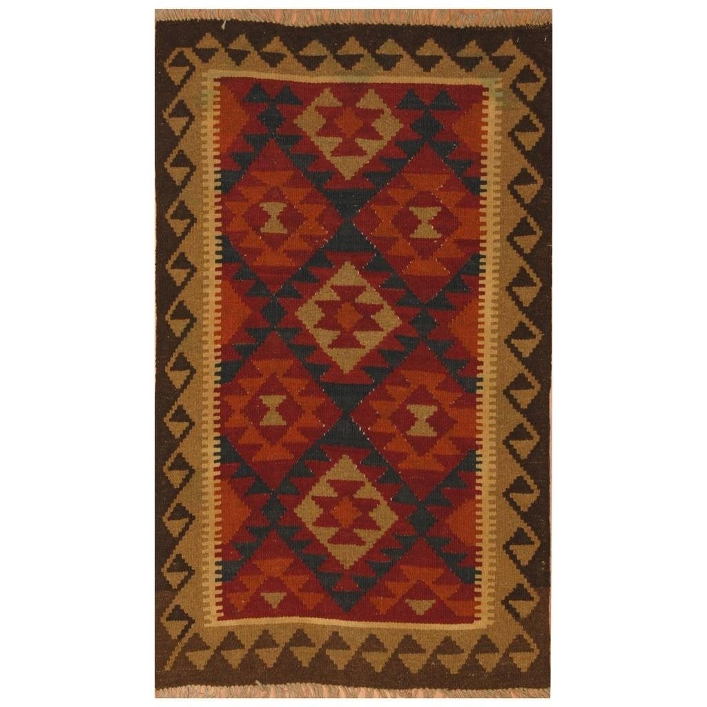 Handmade Herat Oriental Afghan Hand-woven Mimana Wool Kilim (3'1 x 5') - 3'1 x 5' (Red - 3'1 x 5')