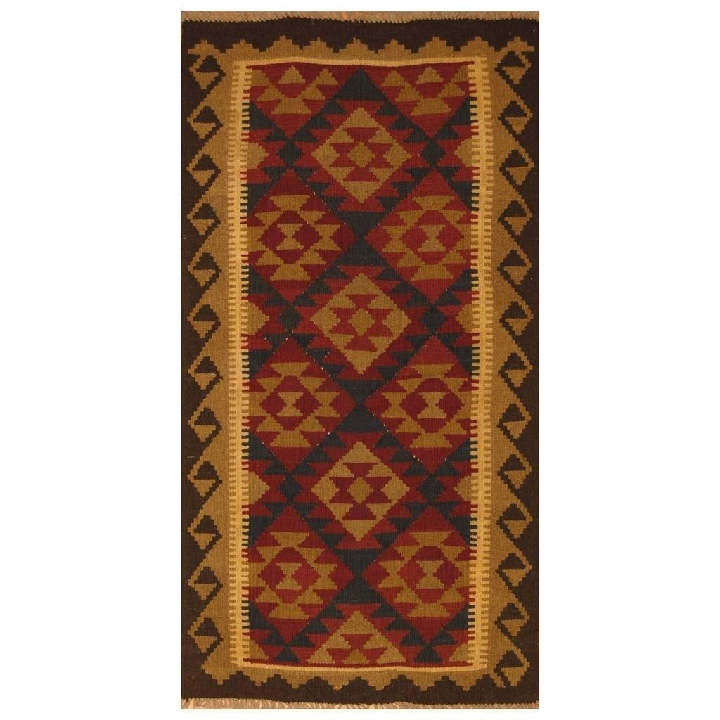 Handmade Herat Oriental Afghan Hand-woven Mimana Wool Kilim (3'4 x 6'5)
