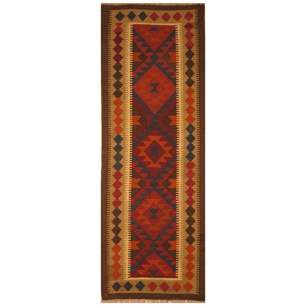 Handmade Herat Oriental Afghan Hand-woven Mimana Wool Kilim (2'3 x 6'5)