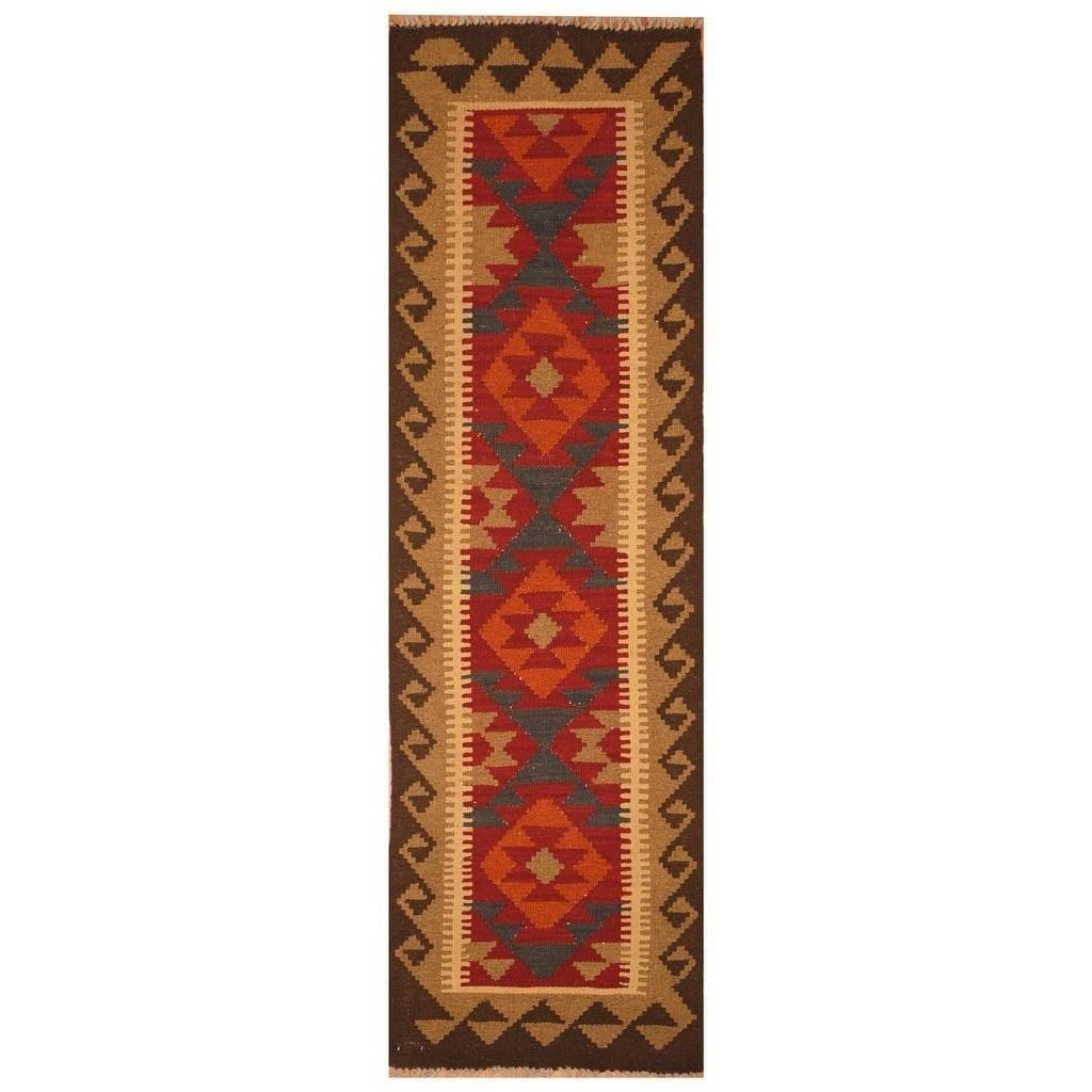 Handmade Herat Oriental Afghan Hand-woven Mimana Wool Kilim (1'6 x 6'7)