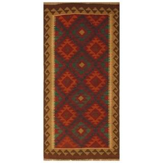 Handmade Herat Oriental Afghan Hand-woven Mimana Wool Kilim (3'4 x 6'8)