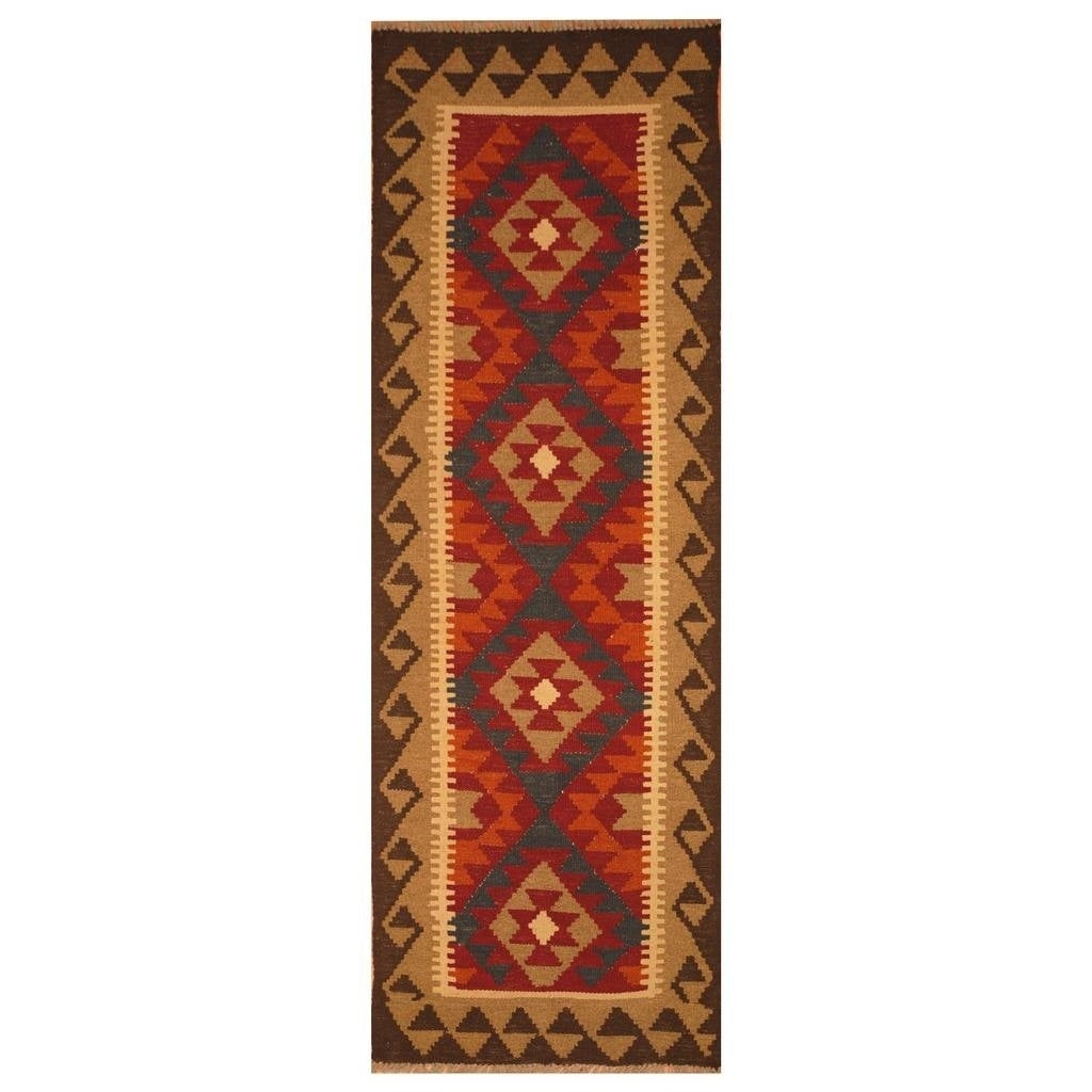 Handmade Herat Oriental Afghan Hand-woven Mimana Wool Kilim (22 x 64)