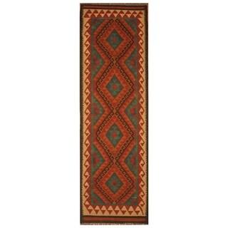 Handmade One-of-a-Kind Mimana Wool Kilim (Afghanistan) - 2'1 x 6'7
