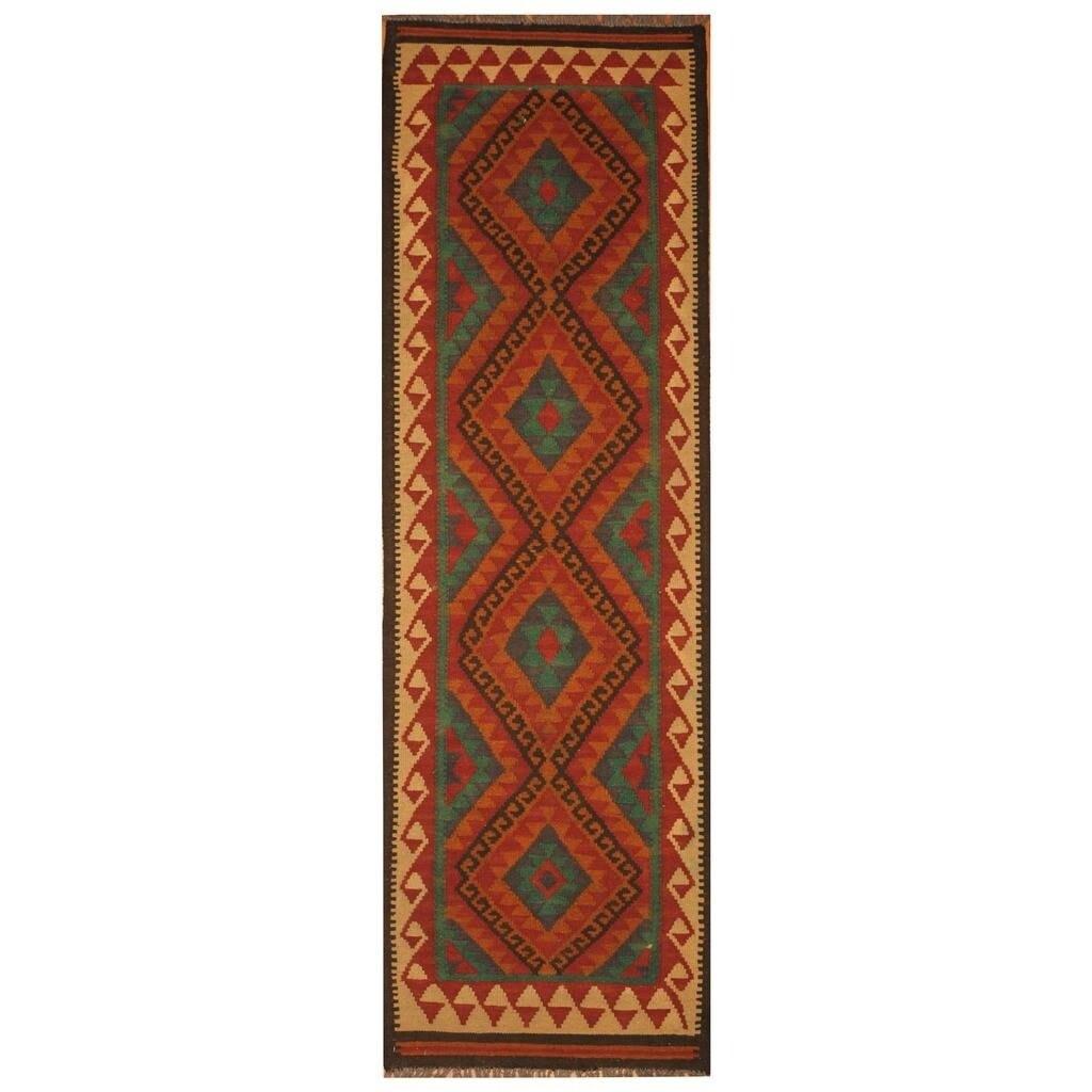 Handmade Herat Oriental Afghan Hand-woven Mimana Wool Kilim (21 x 67) - 21 x 67 (Red - 21 x 67)