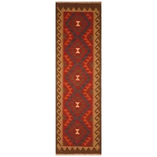 Handmade One-of-a-Kind Mimana Wool Kilim (Afghanistan) - 2'1 x 6'9