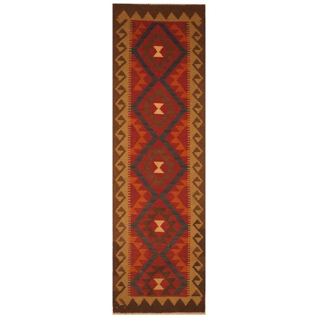 Handmade Herat Oriental Afghan Hand-woven Mimana Wool Kilim (26 x 69)