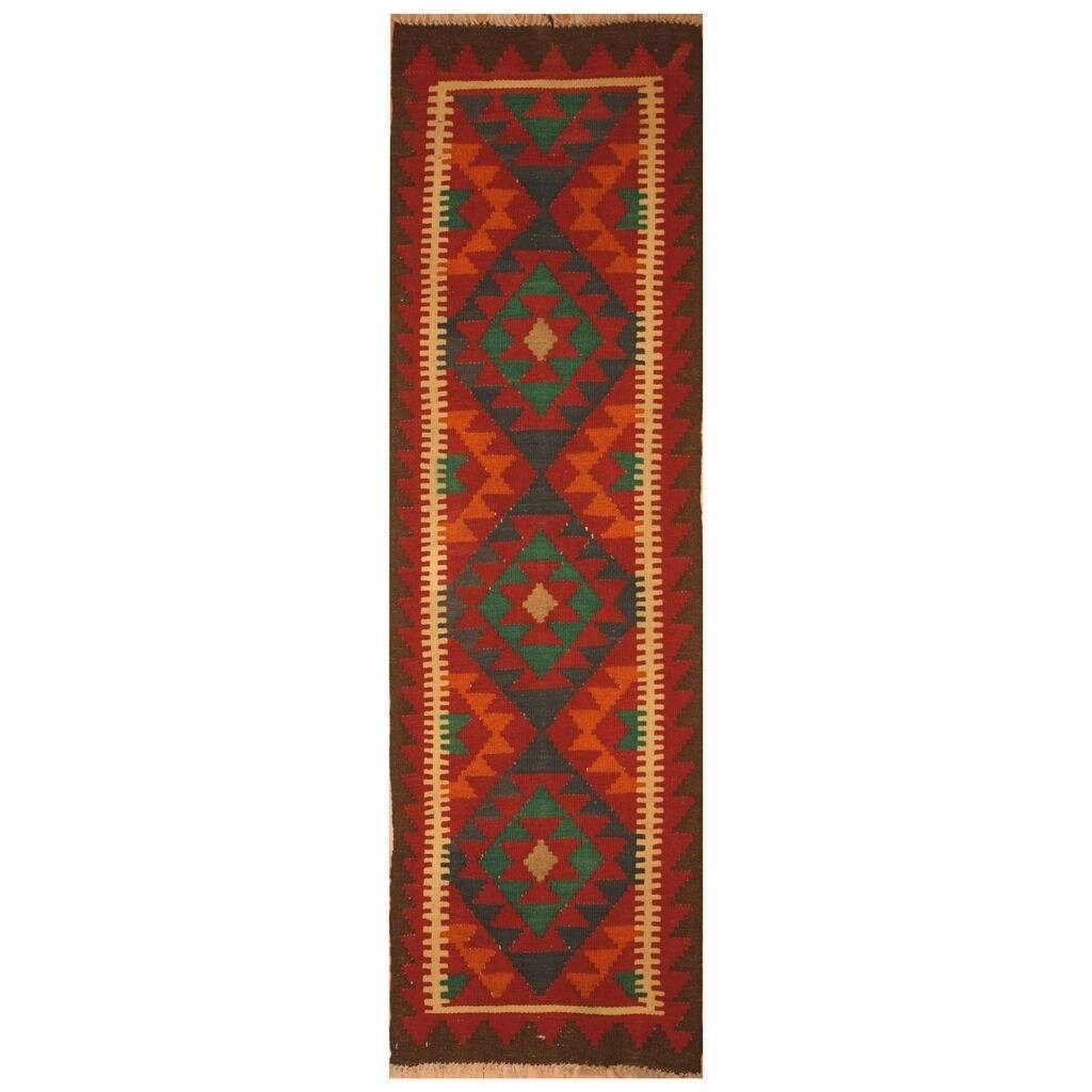 Handmade Herat Oriental Afghan Hand-woven Mimana Wool Kilim (2' x 6'4)