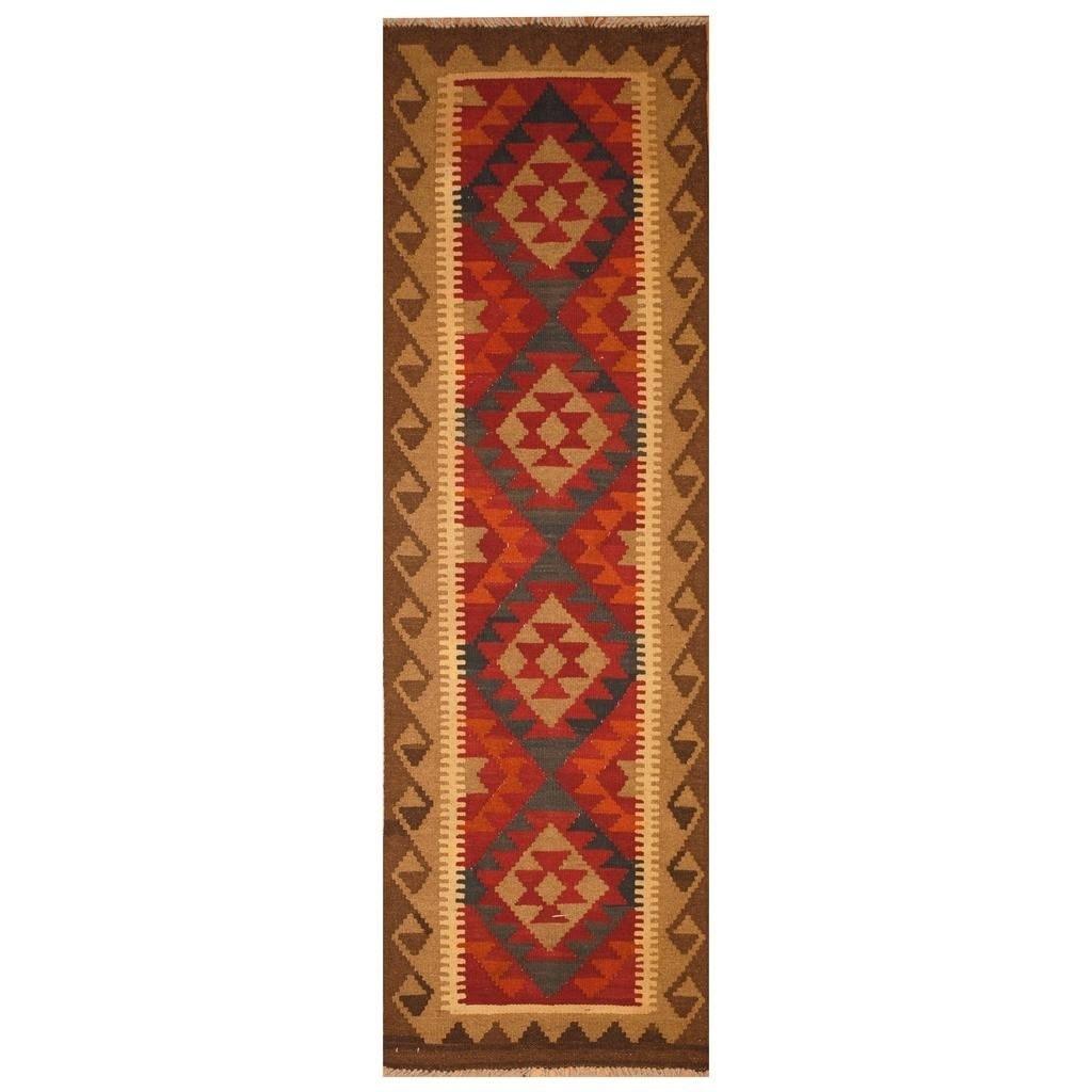 Handmade Herat Oriental Afghan Hand-woven Mimana Wool Kilim (25 x 67)