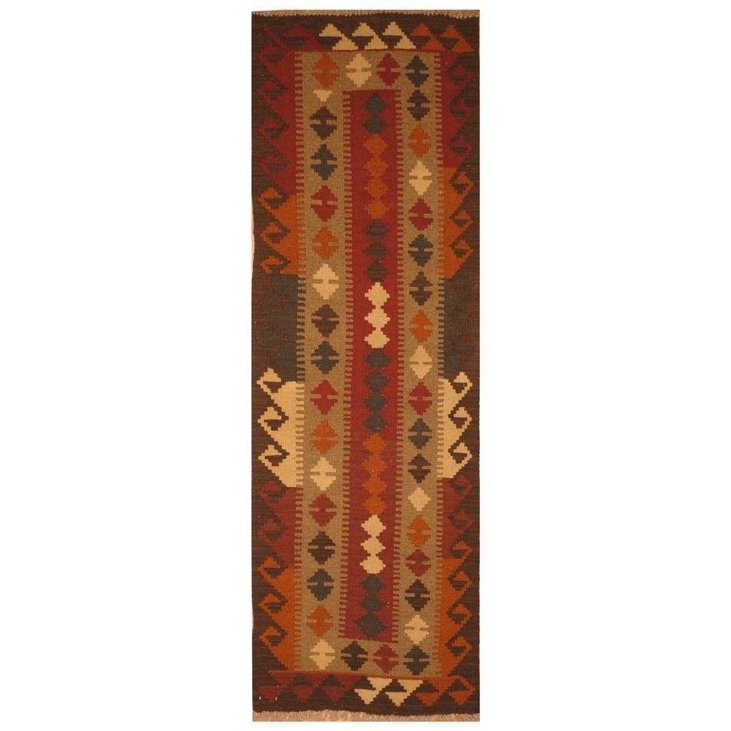 Handmade Herat Oriental Afghan Hand-woven Mimana Wool Kilim (21 x 67)