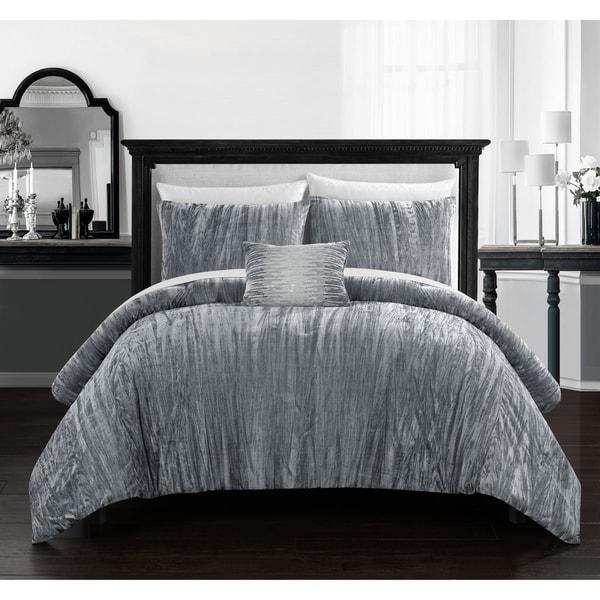 Shop Chic Home Kerk 8 Piece Crushed Velvet Bed In A Bag
