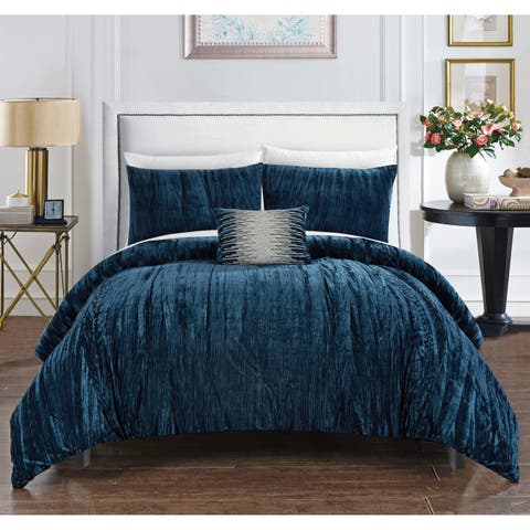 Chic Home Kerk 8 Piece Crushed Velvet Bed in a Bag Comforter Set - navy