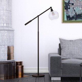 Dardan Floor Lamp in Blackened Bronze with Globe Shade