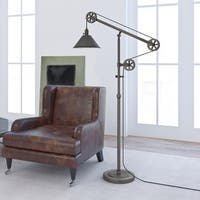 Descartes Industrial Farmhouse Floor Lamp with Pulley System (Optional Finishes)