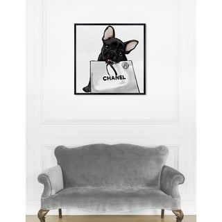 Oliver Gal 'Frenchie Glam White Bag' Dogs and Puppies Framed Art Print - Black
