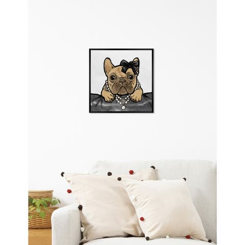 Oliver Gal 'Glam Frenchie' Dogs and Puppies Framed Art Print