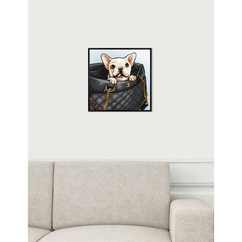 Oliver Gal 'Peek a Boo Frenchie' Dogs and Puppies Framed Art Print