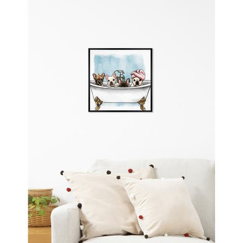 Oliver Gal 'Frenchies In The Tub' Dogs and Puppies Framed Art Print