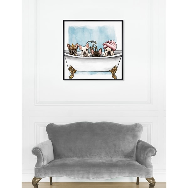 Oliver Gal 'Frenchies In The Tub' Dogs and Puppies Framed Art Print. Opens flyout.